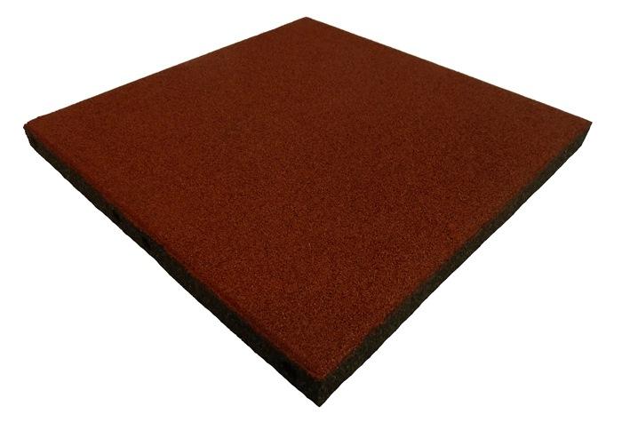 ErgoPlay 500x500x45 mm gummifliser/faldunderlag for faldhøjder op til 1,5 m. basic kvalitet, rød