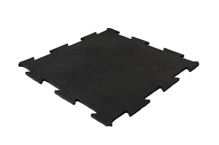 ErgoTile Puzzle 518x518x15 mm gummifliser (effektivt mål 500x500 mm - 4 fliser/m2), C1- sort