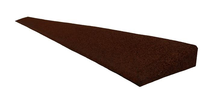 Gummirampe 25x80x1000 mm. for Quad gummifliser, Rød